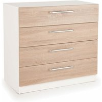 Eitan Quality Bedroom 4 Drawer Chest - Variety Of Colours White Oak - NETFURNITURE