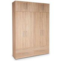 Eitan Quality Bedroom Double Combi Tall Oak Wardrobe - NETFURNITURE