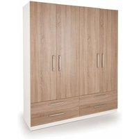 Netfurniture - Eitan Quality Bedroom Double Combi Wardrobe - Oak Doors White Or Oak Frame White 1870 mm 1600 mm 520 mm Oak
