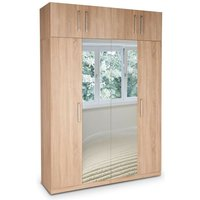 Eitan Quality Bedroom Double Mirror Tall Oak Wardrobe - NETFURNITURE
