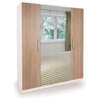 Netfurniture - Eitan Quality Bedroom Double Mirror Wardrobe - Oak Doors White Or Oak Frame