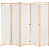 Ekstrom 5 Panel Room Divider by Highland Dunes - Cream