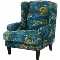 Elastic wing chair sofa cover armchair cover color polyester-cotton (green)