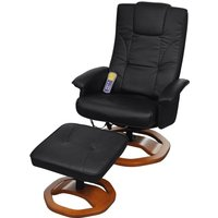 Massage Chair with Footstool Black Faux Leather - VIDAXL