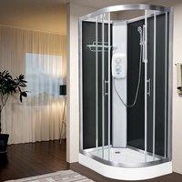 Electric Shower Cubicle Cabin Pure E LH 1200 x 800 Black Enclosure 8.5kW - Vidalux