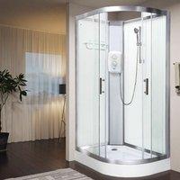Electric Shower Cubicle Cabin Pure E LH 1200 x 800 White Enclosure 8.5kW - Vidalux