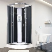 Electric Shower Cubicle Cabin Vidalux Pure E Quadrant 1000 Black Enclosure 9.5kW