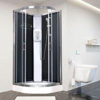 Electric Shower Cubicle Cabin Pure E Quadrant 800 Black Enclosure 9.5kW - Vidalux