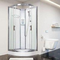Electric Shower Cubicle Cabin Pure E Quadrant 800 White Enclosure 8.5kW - Vidalux