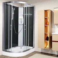 Electric Shower Cubicle Cabin Pure E RH 1200 x 800 Black Enclosure 8.5kW - Vidalux