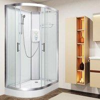 Electric Shower Cubicle Cabin Pure E RH 1200 x 800 White Enclosure 9.5kW - Vidalux
