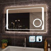 1000 x 600mm Anti-foggy Wall Mounted Mirror,Frontlit LED Illuminated Bathroom Mirror with 230V Shaver Socket, 3 Times Magnifying - Elegant