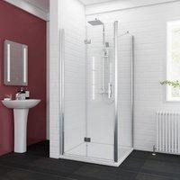 1000 x 700 mm Bifold Shower Enclosure Glass Shower Door Reversible Folding Cubicle Door + Side Panel - Elegant