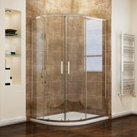 1000 x 900 mm Left Offset Quadrant Shower Cubicle Enclosure 6mm Easy Clean Glass Sliding Door + Stone Tray + Waste - Elegant
