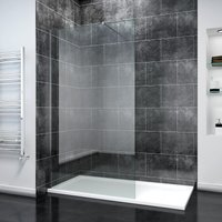 1000mm Frameless Wet Room Shower Screen Panel 8mm Easy Clean Glass Walk in Shower Enclosure with 1700x800mm Tray and Support Bar - Elegant