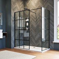 1000mm Walk in Shower Door Wet Room, 760mm Side panel, Reversible Shower Screen Panel 8mm Safety Glass, Matte Black Walkin Shower Enclosure Cubicle