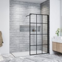 1000mm Walk in Shower Door Wet Room Reversible Shower Screen Panel 8mm Safety Glass, Matte Black Walkin Shower Enclosure Cubicle with 1600x800mm High