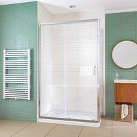 1100x760mm Bathroom Sliding Shower Enclosure Cubicle 6mm Glass Screen Baths Reversible Shower Door with Side Panel - Elegant
