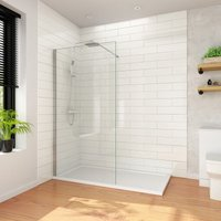 1200mm Wet Room Shower Screen Panel 8mm Easy Clean Glass Walk in Shower Enclosure with Support Bar - Elegant