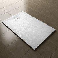 1200x800mm White Slate Effect Lightweight Slate Shower Base Rectangular Grain Shower Enclosure Tray with Waste Trap - Elegant