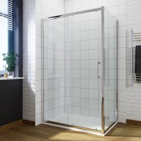 1400mm Sliding Shower Door Modern Bathroom 8mm Easy Clean Glass Shower Enclosure Cubicle Door + 800mm Side Panel+ 1400x800mm Anti-Slip Resin Shower