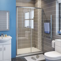 1500mm Sliding Glass Cubicle Door Modern Bathroom Shower Enclosure + 1500x700mm Anti-Slip Resin Shower Tray - Elegant