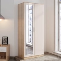 2 Doors Wardrobe with Mirror, Soft Close Hinge Mirrored Wardrobe Cabinet, High Gloss Bedroom Furniture Set with Hanging Rod and Storage Shelves,