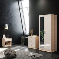 ELEGANT 3 Piece Bedroom Wardrobe with Mirror Furniture Sets, 2 Door Soft Hinge Mirrored Wardrobe, 4 Drawer Chest of Drawers, Beside Cabinet,
