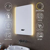 ELEGANT 600x800mm Illuminated LED Bathroom Mirror Lights Dual Side Light Color Adjustable Shaver Socket Bath Vanity Wall Mounted Mirrors with Touch