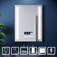 600x800mm Illuminated LED Light Bathroom Mirror Touch control   Anti-Fog   Clock Function   Bluetooth Audio   Shaver Socket - Elegant