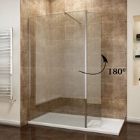 ELEGANT 700mm Easy Clean Glass Wetroom Shower Screen with 300mm Flipper Panel + 1200x900mm Stone Walk in Shower Enclosure Tray and Waste