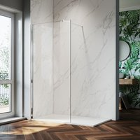 700mm Walk in Shower Screen Glass Panel + 1200x900mm Slip-Resistance Shower Tray, 8mm Easy Clean Glass Wet Room Shower Enclosure, 1900mm Height