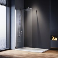 700mm Walk in Shower Screen Glass Panel + 1500x760mm Shower Tray + Thermostatic Shower Valve Bathroom Set, 8mm Easy Clean Glass Wet Room Shower