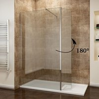 700mm Walk in Wetroom Shower Enclosure 8mm Easy Clean Shower Glass Panel with 300mm Return Panel and 1500x800mm Shower Tray - Elegant