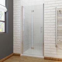 760 x 1500 mm Bifold Shower Enclosure Glass Shower Door Reversible Folding Cubicle Door with Shower Tray - Elegant
