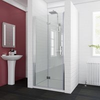 ELEGANT 760 x 760mm Bifold Shower Enclosure Glass Shower Door Reversible Folding Cubicle Door with Shower Tray