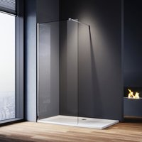 760mm Walk in Shower Screen Glass Panel + 1000x760mm Shower Tray, 8mm Easy Clean Glass Wet Room Shower Enclosure, 1900mm Height - Elegant