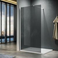 ELEGANT 760mm Walkin Shower Enclosure Bathroom 8mm Grey Safety Easy Clean Glass for Bath Wetroom Walk in Shower Cubicle Screen Panels + Chrome
