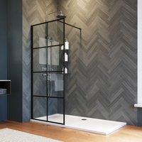 800mm Walk in Shower Door Wet Room, Reversible Shower Screen Panel 8mm Safety Glass, Matte Black Walkin Shower Enclosure Cubicle with 1600x900mm