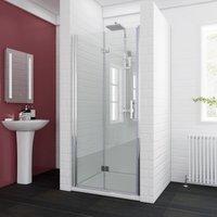 900 x 760mm Bifold Shower Enclosure Glass Shower Door Reversible Folding Cubicle Door with Shower Tray - Elegant