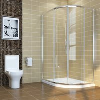 900 x 800 mm Right Quadrant Shower Enclosure 6mm Sliding Glass Cubicle Door with Tray + Waste - Elegant