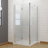 900 x 900mm Bifold Shower Door Glass Shower Enclosure Reversible Folding Cubicle Door with Side Panel - Elegant