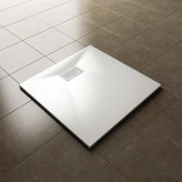 900 x 900mm Slip-Resistance Shower Base Slate Effect Square Shower Enclosure Tray with Waste and Drain Cover and Grate - Elegant