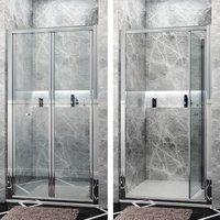 900mm Bi-Fold Shower Door Enclosure Glass Reversible Folding Cubicle - Elegant