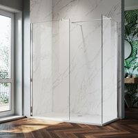 900mm Frameless Wet Room Shower Screen Panel, 800mm Side panel, Walk in Shower Enclosure with Support Bar, 8mm Easy Clean Glass, 1900mm Height