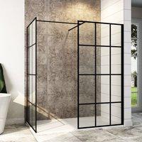 900mm Walk in Shower Door Wet Room, 900mm Side panel, Reversible Shower Screen Panel 8mm Safety Glass, Matte Black Walkin Shower Enclosure Cubicle