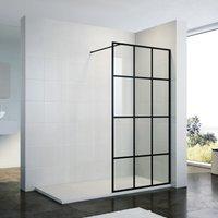 900mm Walk in Shower Door Wet Room Reversible Shower Screen Panel 8mm Safety Glass Matte Black Walkin Shower Enclosure Cubicle with 1600x800mm High