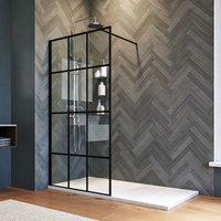 900mm Walk in Shower Door Wet Room Reversible Shower Screen Panel 8mm Safety Glass Matte Black with 1500x700mm Anti-Slip Resin Shower Tray - Elegant