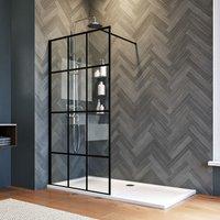 900mm Walk in Shower Door Wet Room Reversible Shower Screen Panel 8mm Safety Glass Matte Black with 1600x760mm Shower Tray - Elegant