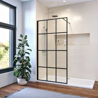 900mm Walk in Shower Door Wet Room Reversible Shower Screen Panel 8mm Safety Glass with 1000mm Support Bar Matte Black Walkin Shower Screen with